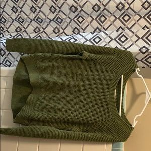 Olive green crop top sweater